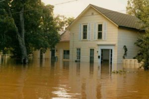 A flooded yellow house located on Whitman Drive.